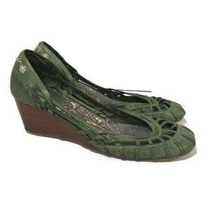 Seychelles Green Leather Weave Wooden Wedge Heels